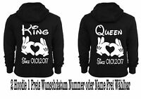 Hoodie Pullover 2 Stück King Queen Druck Partner Look Hipster Pärchen XS - 5XL
