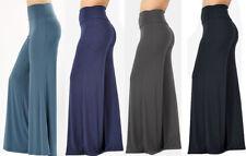 S-3X Women's Wide Leg Palazzo Pants Reg & Long Inseam Stretch Knit Fold Waist