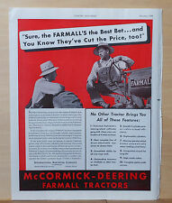 1938 magazine ad for McCormick Deering Farmall tractors - Best Bet, features