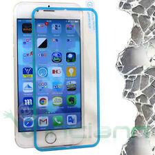Pellicola VETRO trasparente BORDO azzurro display per iPhone 6 4.7 6S nuova
