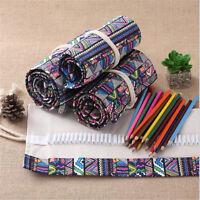 1Pcs Pen Case Canvas Holder Pouch Wrap 36/48/72 Holes Pencil Bag Storage Roll Up