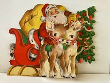 Vintage ©1945 Hall Bros. Inc Hallmark Christmas Card Stand-Up Santa & Reindeer