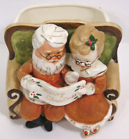Vintage NAPCO Ceramics Santa, Mrs Claus Holding List Flocked Planner 1950s Japan