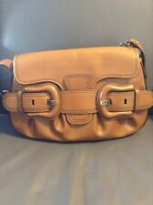 Fendi Authentic Brown Leather Shoulder Bag With Gold Chain