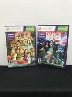Kinect Games Lot Dance Central + Kinect Adventures! Xbox 360 Complete W/ Manuals