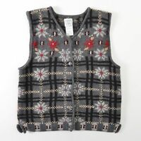 Laura Ashley Wool Sweater Vest Cardigan Floral Gray Womens Medium M