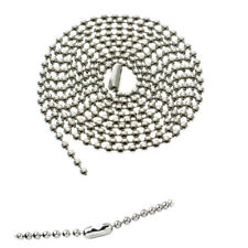 """5 Nickel Plated Ball Bead Neck Chains - ID Badge Holder Lanyard Necklace 36""""Long"""
