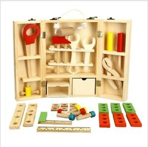 Wooden Tool Box pretend Montessori Toy Learning Educational gift for Baby Kids