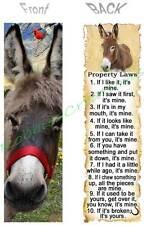 Donkey Burro Bookmark Mule Rules Property Laws Book Mark Card Ornament Figurine