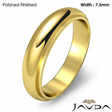 Men Wedding Band Dome Comfort Fit High Polish Ring 7.5mm 18k Yellow Gold 10.3gm