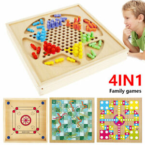 4 in 1 Wooden Desktop Family Games Set Ludo,Catapult,Checkers,Snakes and Ladders