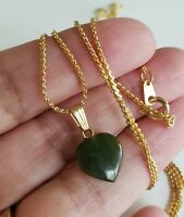 Vintage Nephrite Jade HEART Gold Tone Pendant Necklace Serpentine Chain