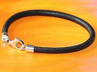 Ladies 4mm black Nappa Leather & sterling silver bracelet by Lyme Bay Art