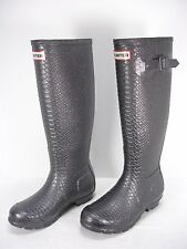 HUNTER CARNABY BOA PEWTER SNAKE EMBOSSED TALL RUBBER RAIN BOOTS WOMEN'S 5