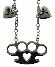 Brass Knuckle Heart Love Pendant Necklace Dog Tag Gothic Tattoo Rebel Women New