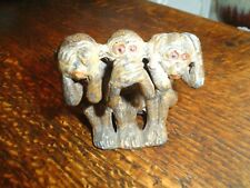 COLD PAINTED SPELTER THREE WISE MONKEYS