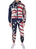 Men's US American Flag Athletic Zip Up Hoodie Jacket Jogger Pants Tracksuit Set