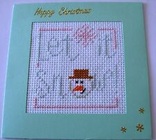 """Christmas Card Completed Cross Stitch Let it Snow 5.5"""" Sq"""
