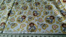 RAGGEDY ANN YELLOW FLOWERS AND DOGS FLANNEL FABRIC BY THE YARD