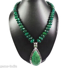 Exclusive 915 Cts/183 gm Designer Emerald Necklace With Huge 925 Silver Pendant