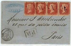 GREAT BRITAIN--Cover sent to Paris in 1862 franked with 4 Scott #20b with letter