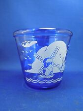 Vintage 1930s Hazel Atlas Depression Glass Small Ice Bucket Cobalt Blue Windmill
