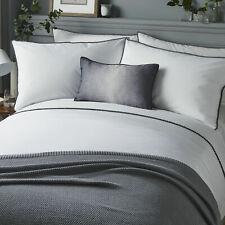 Serene Pom Pom Trim Pintuck Detail Duvet Quilt Cover Bed Set in Grey