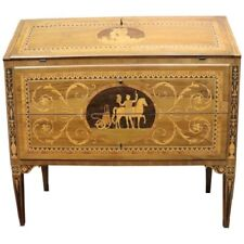 20th Century Italian Louis XVI Walnut Inlay Chest of Drawers with Secretaire