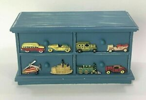 """Kids Handcrafted 12"""" x  6"""" Blue Heavy Wooden Chest w/Drawers Car Bus Plane Boat"""