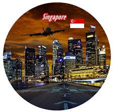 SINGAPORE - ROUND SOUVENIR FRIDGE MAGNET - SIGHTS / FLAGS / BRAND NEW / GIFTS