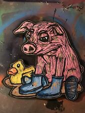 Approx 12 X 12 Wood Carving Graffiti Handmade Pig In Mud  Painting Shortiez Ink
