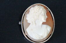 "Beautifully Carved Shell Cameo Brooch Pin X00 Sterling Silver Oval Lady 1 1/2"" t"