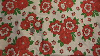 Vintage Cotton Fabric RED & WHITE FLOWERS ON WHITE,GREEN LEAVES 1 Yd/44""
