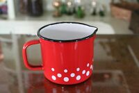 Red with White Polka Dots Enameled Steel Measuring Milk Cup