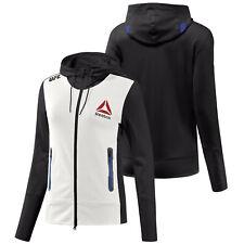 Reebok Official UFC League Fight Kit Womens Full Zip Walkout Hoodie Black Royal