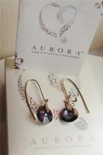 AURORA SIGNED YELLOW GOLD PLATED CRYSTAL FROM SWAROVSKI EARRINGS NEW BOX QVC