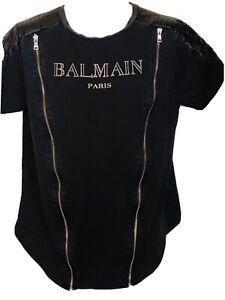 BALMAIN Paris Logo Black Cotton T-shirt Men's 2xl Short Sleeve Black Zip j122