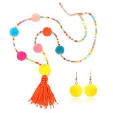 Boho Long Multi-Color Chain Faux Fur Ball Pompom Necklace Pendant Jewelry Set UK