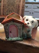 Vintage Hand Painted Ceramic Luster Dog Planters Miniature Mini Doghouse Japan