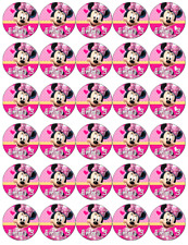 Minnie Mouse x 30 Personalised Cupcake Toppers Edible Wafer Paper Fairy Cakes