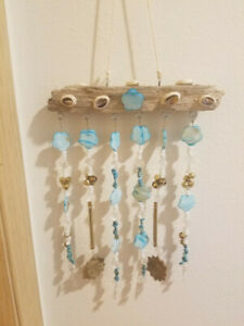 Driftwood and Aqua/Teal blue shells wind-chime/sun-catcher made in the USA