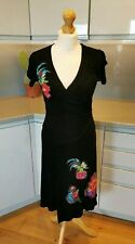 Desigual Size Small UK 10 Black Floral Patch Dress Jersey Stretch Casual Office