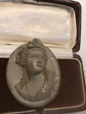 Antique Victorian Large Oval Carved Lava Cameo Brooch Pin
