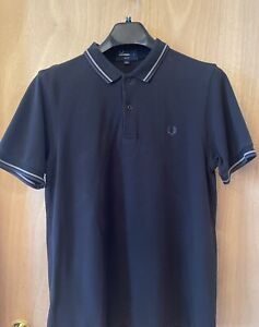 Fred Perry Black Grey Twin Polo Shirt Mens Large Slim Fit