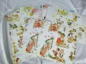 Large lot of Vtg 70s Hollie Hobbie Opened Packages of Gift Wrap Wrapping Paper