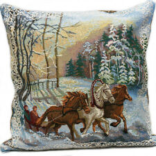 Decorative Bed Pillow with Russian Horses Troika Winter Embroidered Gobelin