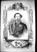 Old Antique Print 1855 Portrait His Majesty Victor Emmanuel King Sardinia 19th