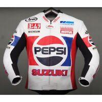 Kevin Schwantz Pepsi Suzuki Motorbike Leather Racing Jacket-LJ-0876 ( US 38-48 )