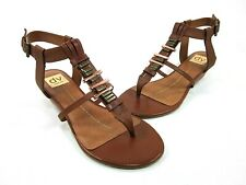 DV BY DOLCE VITA WOMEN'S FALINE SANDAL, COGNAC LEATHER, US SIZE 6.5 MEDIUM, NEW