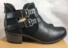 UGG PATSY CUT OUT LEATHER ANKLE BOOTS BLACK LEATHER BOOTS SIZE 12 US 10.5 UK